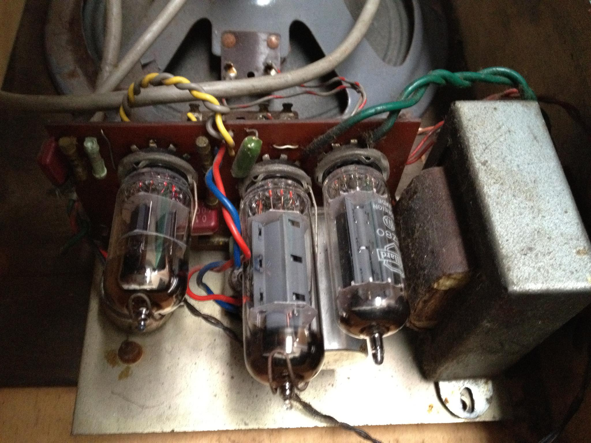 Old valve amplifier inside