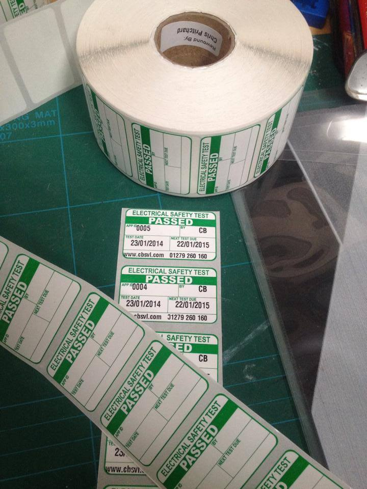 PAT testing label custom printed