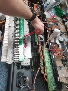Inside of electric piano for repair